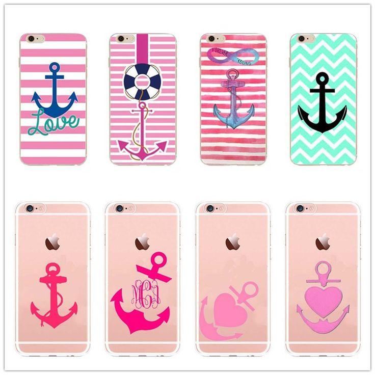 Stripes Pink White Anchor Phone Case For Apple iPhone 6 6S 5 5S 5C SE 6 6Plus 7 Soft Silicone TPTransparent Phone Case Cove #Affiliate