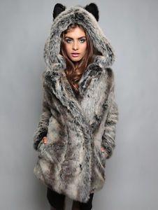 NEW-SpiritHoods-SPIRIT-HOOD-GREY-WOLF-Faux-Fur-Jacket-SIZE-S-M-L-PRE-ORDER $230