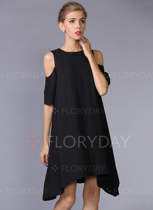 Dresses - $60.94 - Polyester Solid Short Sleeve High Low Casual Dresses…