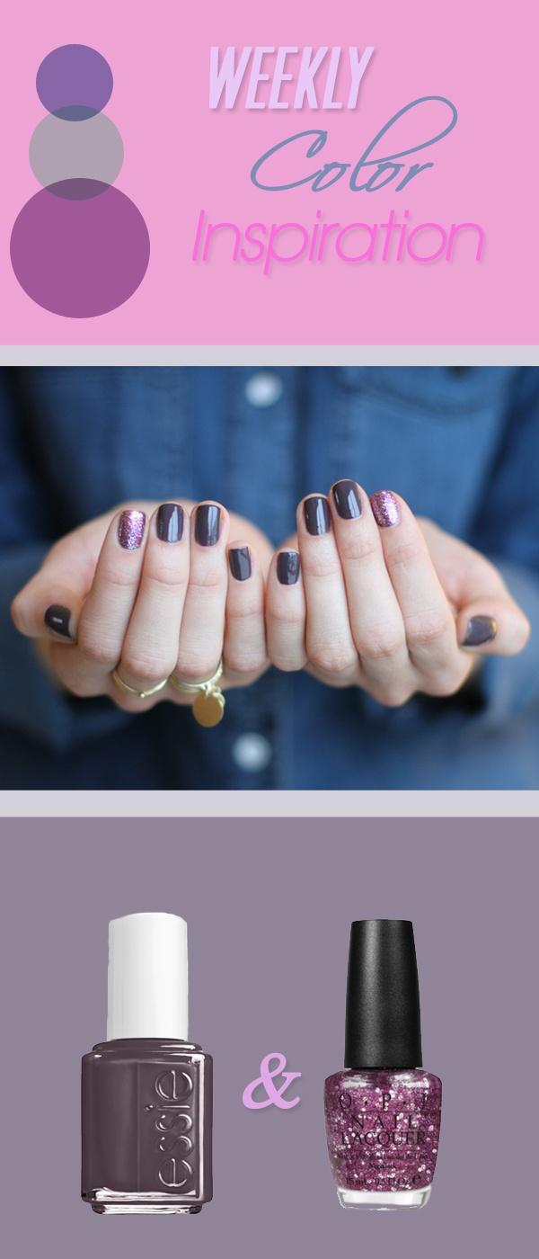 On all fingers – Essie Smokin Hot, Glitter layer on index fingers – OPI Divine Swine