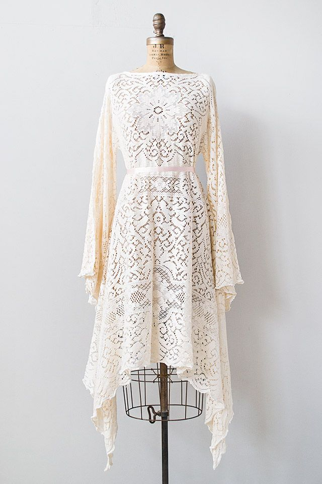 vintage 1970s pale pink lace boho dress [Mirepoix Champagne Dress] - $228.00 : ADORED | VINTAGE, Vintage Clothing Online Store