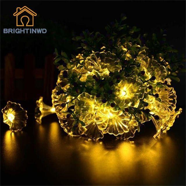 Impermeabile 6 m 30 led morning glory fiore luci della stringa leggiadramente solare per outdoor garden home festa nuziale di natale e vacanza