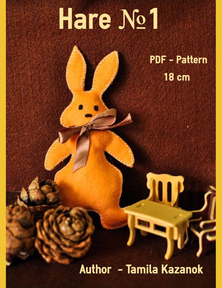 Bunny Instant Download Easy Sewing PDF Pattern/ DIY Bunny/ Felt Toy/ Stuffed Toy Animal Bunny Softie by Tamilashki on Etsy