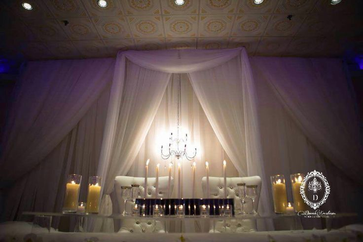 Simple yet breathtaking. All white intimate themed decor accented with with crystal chandelier . Detailed backdrop also done by our team . #dreamcreations #torontoevents #wedding #backdrop #elegant #GTA