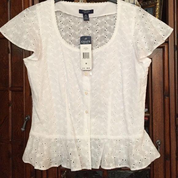 Champs  white blouse Nice elegant blous Chaps Tops Button Down Shirts