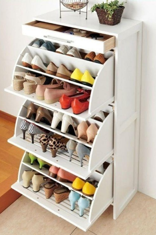 This could easily be stashed in a corner or in a closet--and it's a GREAT way to keep 27 pairs of shoes neatly in one place! --PRANDI Property Management