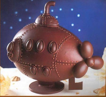 Submarine shaped chocolate egg