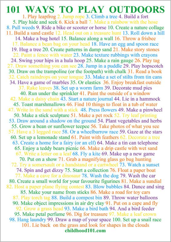 101 Ways to Have Fun Outdoors Printable Poster via Childhood 101