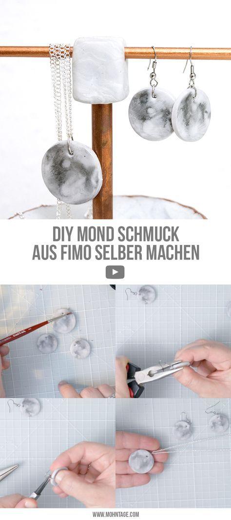 DIY Mond Schmuck aus Fimo basteln Ines Organ