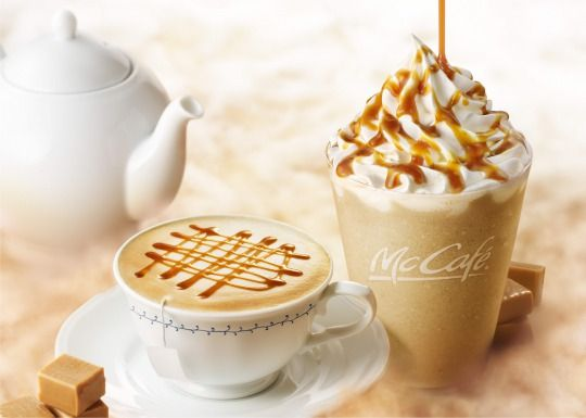 マックカフェキャラメル風味のティーラテと初の紅茶フラッペを新発売
