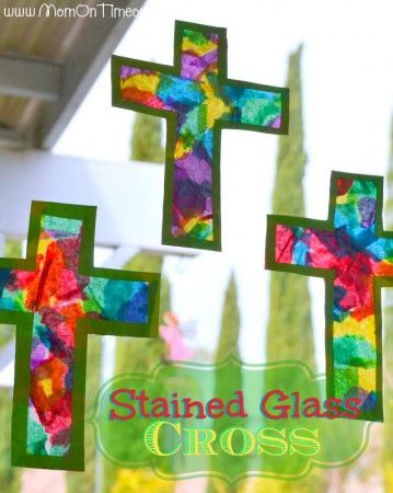 Stained Glass Cross Craft | MomOnTimeout.com #Easter #craft #cross