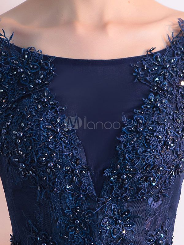 b5540243513d Dark Navy Prom Dress Lace Applique Beading Cocktail Dress Jewel 3/4 Length  Sleeve A Line Tea Length Party Dress - Milanoo.com