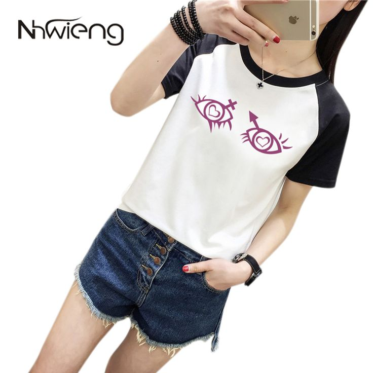 >> Click to Buy << Preppy Cool Unique Women Blouse Short raglan Sleeve T White Patchwork Eyes Heart Sex Print Shirt Casual Loose Basic Korean Tops #Affiliate