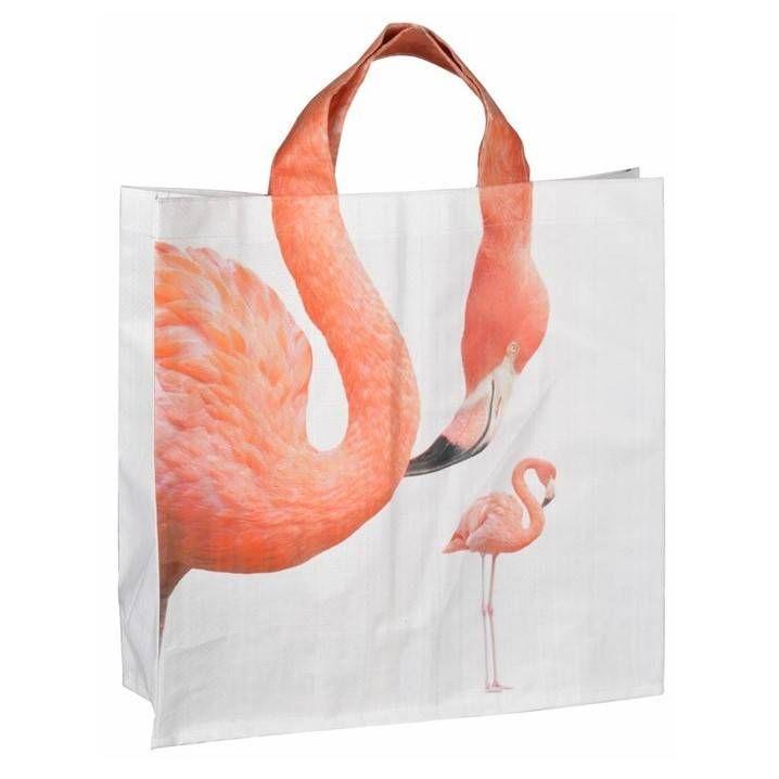 Leuke shopper met dierenprint van Esschert Design. Keuze uit giraf, olifant of flamingo, de print loopt door in het hengel. De tas is aan allebei de kanten bedrukt.