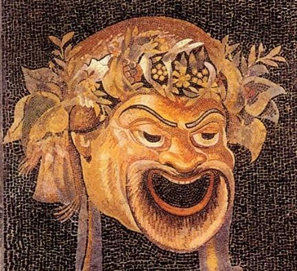 Opus vermiculatum (very, very tiny pieces) mosaic of a theatre mask. The Dionysiac Archetype.