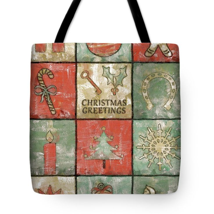 Christmas Tote Bag featuring the painting Vintage Christmas Greetings by Grigorios Moraitis