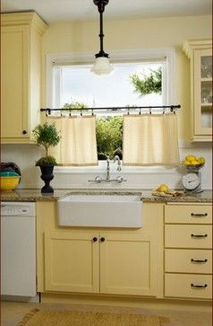 butter yellow cabinets with white walls and sub tile Donna DuFresne Interior Design's Design Ideas, Pictures, Remodel, and Decor - page 7