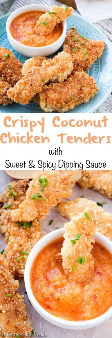 Chicken pieces are coated in a mixture of coconut and breadcrumbs for the ultimate crunchy chicken tender. Serve these crispy coconut chicken tenders with my 3-ingredient dipping sauce for a fun and tasty meal!