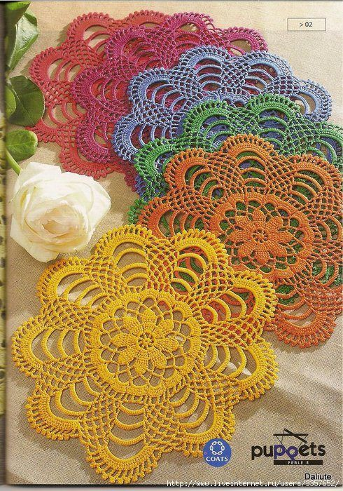 These crocheted doilies remind me of flowers made up in these bright colors. Can't wait to try this pattern.