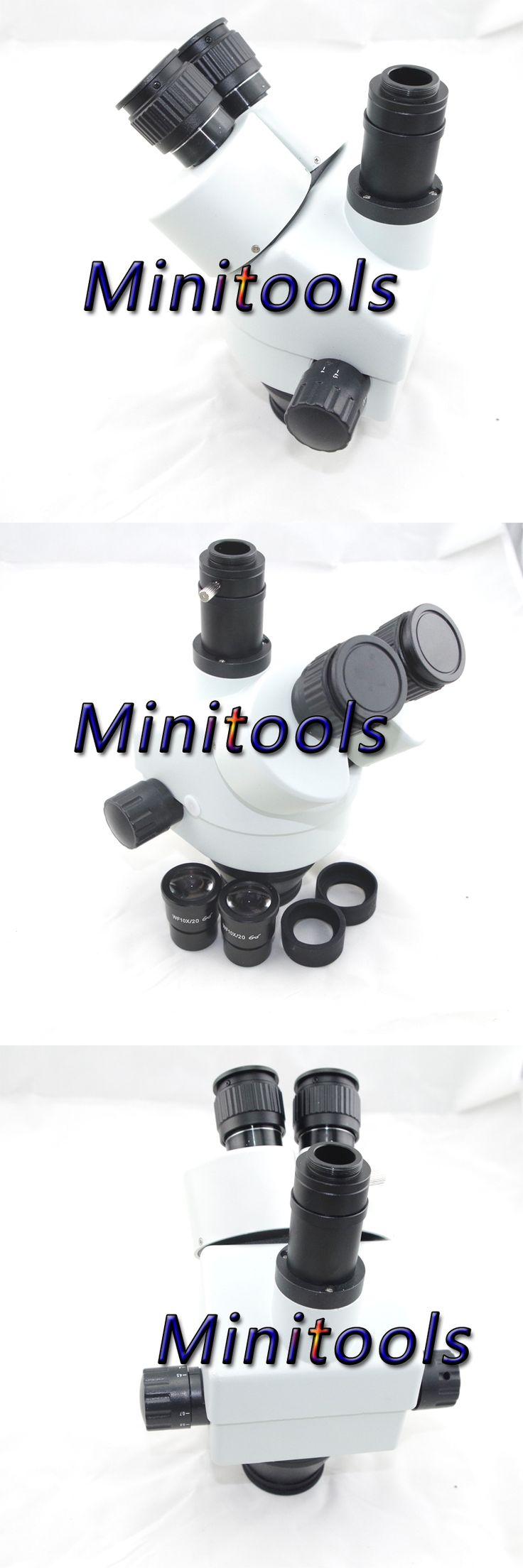 Continuous zoom binocular visual 7-90X Trinocular stereo microscope head for lab /PCB repair