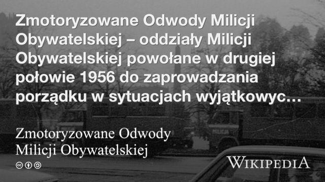 """""""Zmotoryzowane Odwody Milicji Obywatelskiej"""" på @Wikipedia:"""