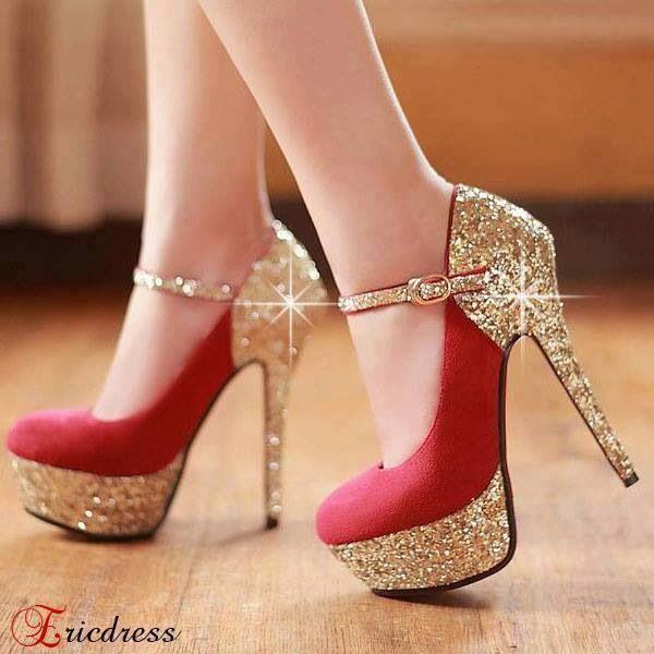 Zapatos, Altos, Rojos con Brillo Dorado, que más Podría Pedir!!