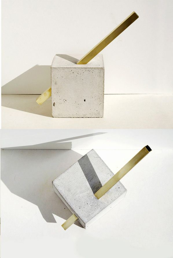 """FAUX/REAL VAsculpture 2  Flower vase sculpture of brass and concrete. 4""""x 4"""" base."""