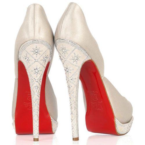 Louboutin Satin wedding shoes.