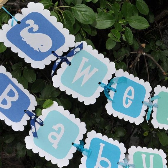 Whale Themed Baby Shower   Baby Shower Banner Whale Theme by ...   Baby shower ideas