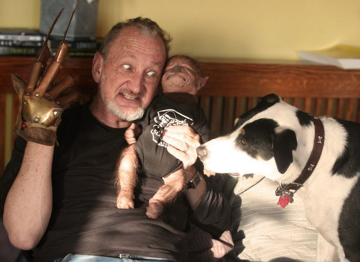Robert Englund playing with Ezra the WerePup and his pooch Maizy. Don't worry, no dogs or lycanthrope babies were hurt in the making of these photos!