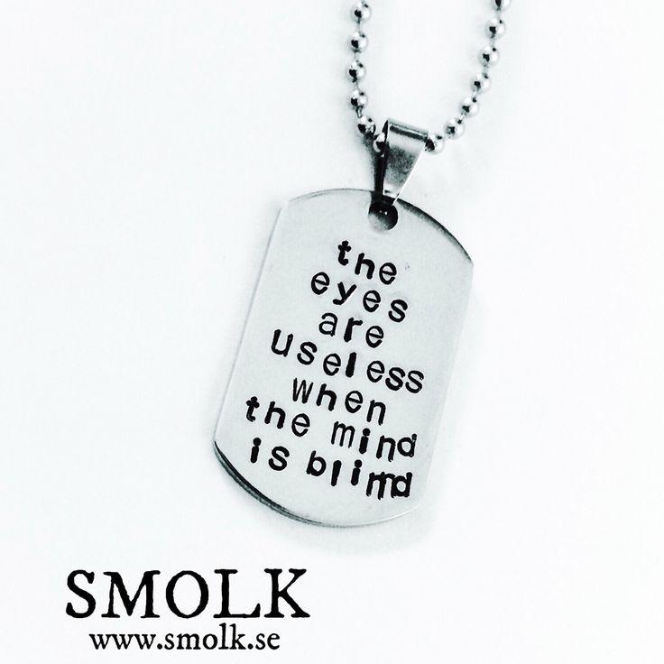 Bricka i rostfritt stål av id-modell ned handstansad text Storlek: ca 36x24 mm