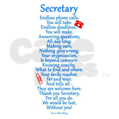 Secretary appreciation gifts! Thank your Secretary with this nice appreciation poem ~ written by Niki Alling.
