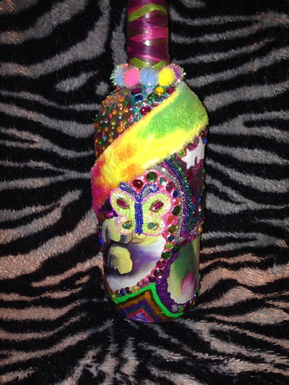 Up cycled recycled decorated vodka bottle vase by murphy0122