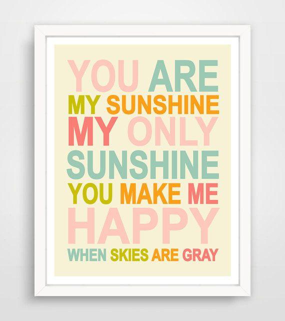 You are my Sunshine Wall Art Kids, Nursery Song, Rainbow Print, Baby Nursery Art,  Pink Sunshine Print for kids Room Art