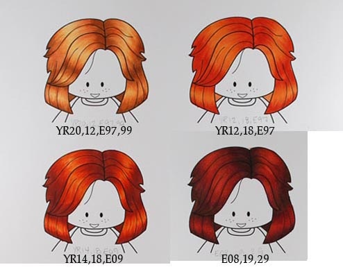 Copic Tutorial (Red Hair)Colors Red, Coloring Hair, Hair Colors, Copic Colors, Red Hair, Copic Markers, Art Crafts Idease Mark, Red Head, Colors Hair