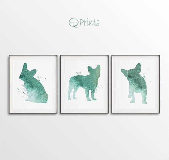 French Bulldog Print Bulldog Printable Triptych Turquoise