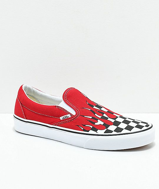 0fdf25f0aa7d5f Vans Slip-On Checkerboard Flame Red   White Skate Shoes