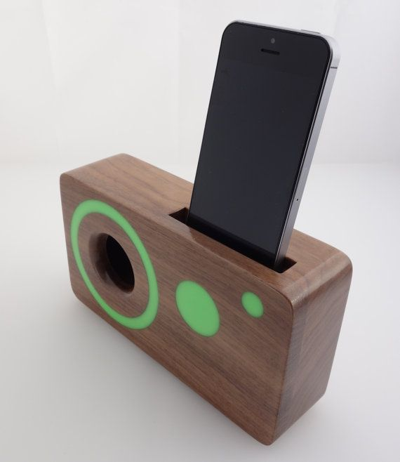 Handmade walnut wood iPhone acoustic speaker box by WoodAndGadget