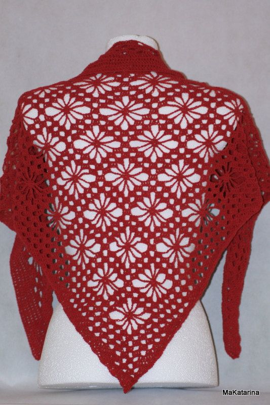 Crochet shawl raspberry shawl cotton shawl lace by MaKatarina