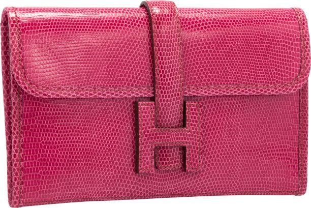 Hermes Fuchsia Lizard Jige PM H Clutch Bag | Handbags | Pinterest ...