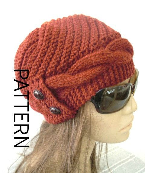 ► ► THIS IS A KNITTING PATTERN ► ►  PLEASE NOTE: This is not a finished Actual Hat , this is only Pattern.  This Cable Knit Cloche hat will make you eye