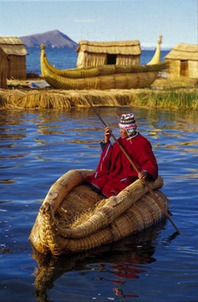 Lake Titicaca is a lake in the Andes on the border of Peru and Bolivia. By volume of water, it is the largest lake in South America. Lake Maracaibo has a larger surface area, but is often regarded as a large brackish bay due to its direct connection with the sea.