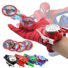 Niños spiderman ironman batman lanzador guantes de los niños figura de acción juguetes niños regalo de la fiesta de cumpleaños con la caja al por menor(China (Mainland))