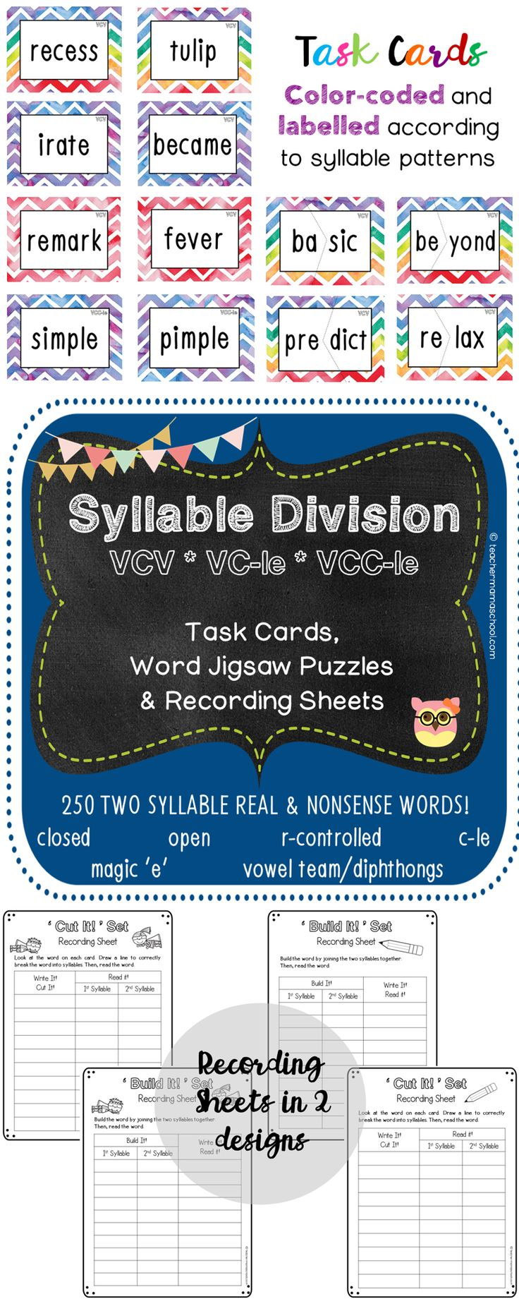 syllable division | vcv | final stable syllables| This pack consists of 2 sets – 'Cut It!' Set and 'Build It!' Set.  In each set, there is/are:  ✿ 250 word cards with the VCV, VC-le and VCC-le syllable patterns (includes both REAL and NONSENSE words) ✿ 1 Recording Sheet (in 2 slightly different designs)