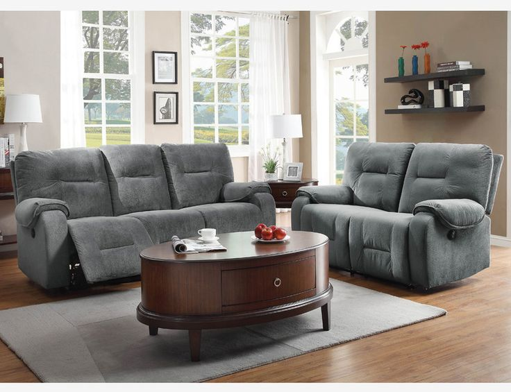 Blue grey microfiber power reclining sofa couch loveseat for Affordable furniture victorville ca