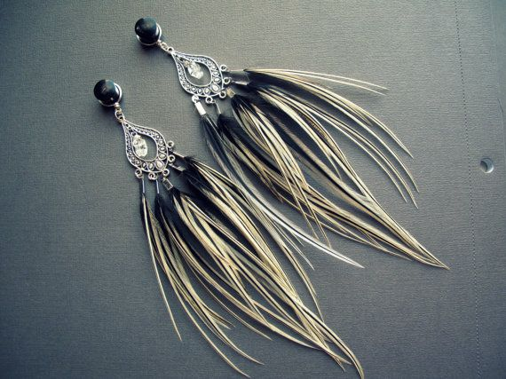 Dangle Plug Feather Gauges - Organic Plugs or Tunnels w/Tribal Feathers and Crystals Silver Black Ivory Dangly   #ineed
