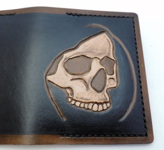 Card wallet hooded skull by AnaMariaGruiaART on Etsy