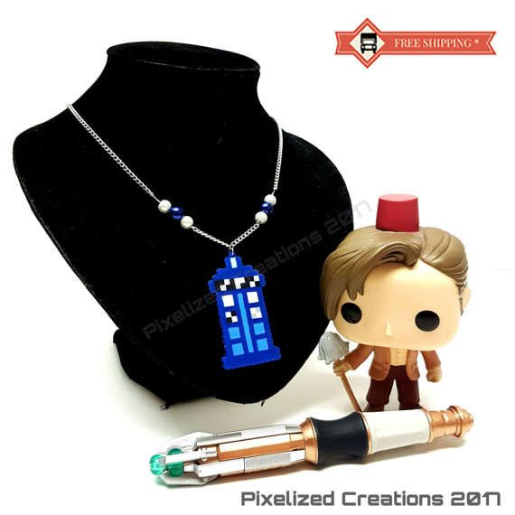 Doctor Who TARDIS Themed Pendant Necklace with Blue & White