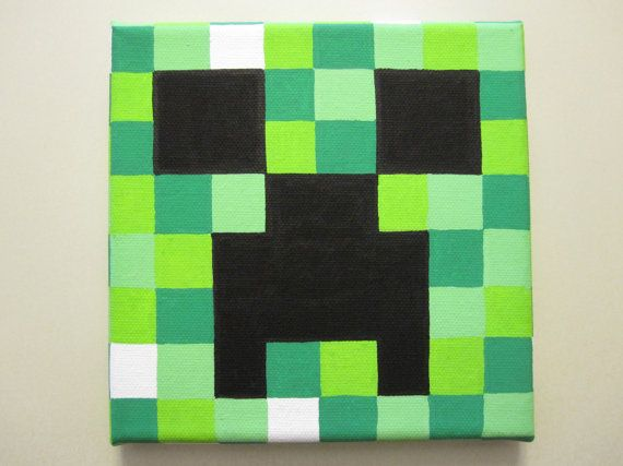 Minecraft Creeper Painting On Canvas By Nestalgicbits On