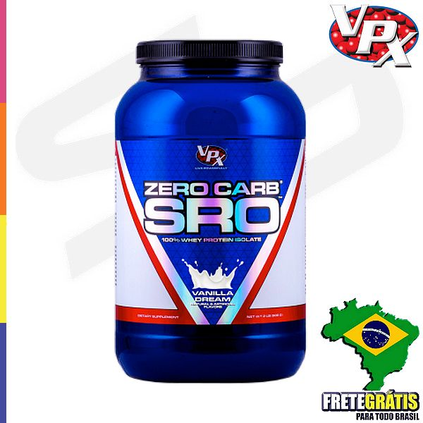 VPX Zero carb - 0g de açúcar; VPX Zero carb é ZERO de lactose, aspartame e acessulfame K; Suplemento ideal para ganho de massa muscular; VPX Zero carb oferece 20g de proteina por porção; Suplemento com FRETE GRÁTIS ;